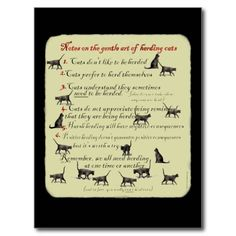 Notes on the Gentle Art of Herding Cats Post Cards