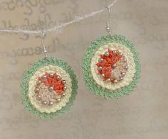 Crochet earrings - Apple bud, hand dyed silk yarn, metal beads