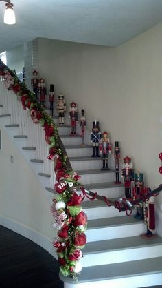 Army of Nutcrackers::A great way to display your nutcrackers - going down a flight of stairs!