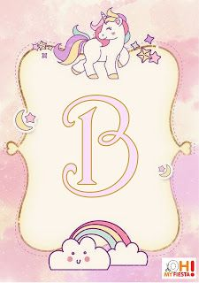 Alfabeto Unicornio My Little Pony Unicorn Invitations, Baby Invitations, Alphabet, Unicorn Birthday Parties, Unicorn Party, My Little Pony Unicornio, Unicorn Wallpaper Cute, Free Printable Banner Letters, Unicornios Wallpaper