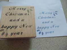 CHRISTMAS WOODEN BACKED RUBBER STAMP