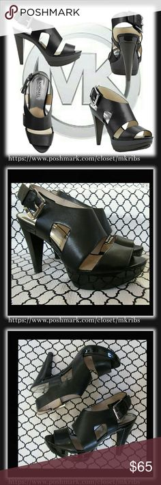 ✳ Michael Kors Carla Platform sandal 10 Like new MK 'Carla' black platform sandals with silver hardware. More details in the last photo. Photo 1 is stock photo. NO TRADES PLEASE! OFFERS WELCOME THROUGH OFFER FEATURE ONLY PLEASE! Michael Kors Shoes Sandals