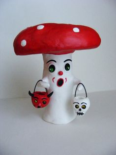 Mushroom Man Halloween Art Doll Paper Mache  by seasonsart1031, $65.00