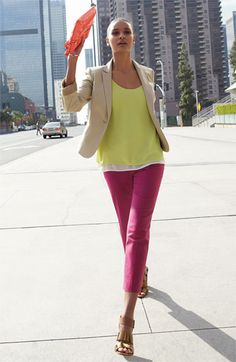 Slightly obsessed with this look: Structured jacket, layered chiffon tank & crop jeans in bold color