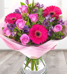 hot pink bouquet of flowers delivered by courier including cerise gerberas pink roses and purple alstroemeria next day flower delivery Pink Flower Bouquet, Hot Pink Flowers, Cheap Flowers, Pink Roses, Best Flower Delivery, Online Flower Delivery, Flower Delivery Service, Send Flowers Online, Order Flowers