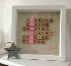 Mother's Day frame ...made with old scrabble tiles!