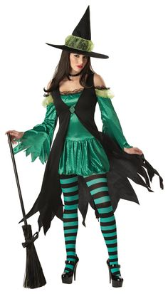 Emerald Witch Halloween Costume - Calgary, Alberta. This wicked Witch costume is great for a Wizard of Oz party, a monsters costume party or witchcraft costume party. This is an Emerald Witch costume for Halloween. Practice your sorcery in a sexy and elaborate costume.  This Emerald Witch costume has five pieces to it: a dress, an overdress with brooch, a hat and tights. The dress is green with sequins and a bubble skirt.