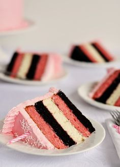5-Layer Neapolitan Cake by Sweetapolita: Strawberrry, Chocolate and White cake layers with strawberry filling.