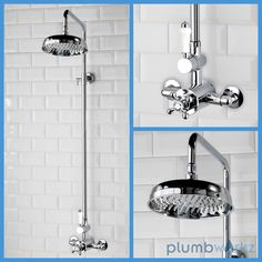Traditional Victorian Style Thermostatic Chrome Shower Valve Rigid Riser Set