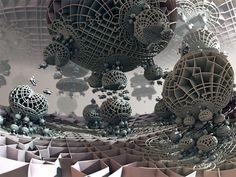 A hybrid 3D fractal created with Mandelbulb 3D (MB3D). 'Base Response #8' © Matthew Haggett, 2014