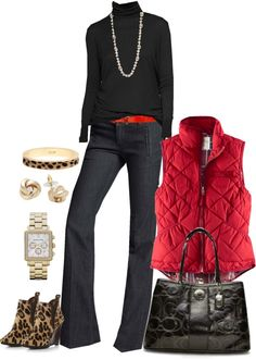 """Red, black and animal print"" by luv2shopmom ❤ liked on Polyvore"