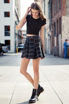 crop top, plaid skater skirt