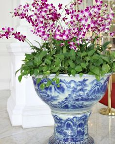 A Visit To Raffles Hotel - Singapore - Beautiful House Blue And White China, Blue China, Chinoiserie Chic, Blue Rooms, White Decor, Beautiful Flowers, House Beautiful, White Porcelain, Flower Vases
