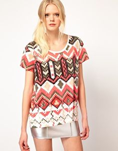 Sass And Bide The Kingdom Tee In Pixilated Tribal Print