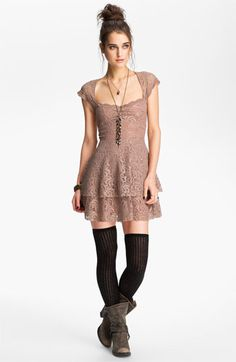ahh, so cute! free people tiered lace dress, over the knee socks, boots