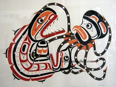 First nations art octopus fight