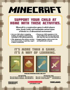 Minecraft: Learning at Home and at School - Minecraft offers a world of educational content. Read about how your child can learn with Minecraft, both in the classroom and at home.