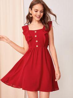 Button Detail Ruffle Armhole Tie Back Dress [swdress07190612934] - $25.50 : ladydressy.com