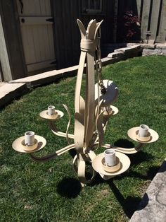 5 arm cream painted metal chandelier. Have shade options if interested $100 plus shades $40 Cream Paint, Metal Chandelier, Painted Metal, Metallic Paint, Arm, Shades, Eyes, Painting, Shutters