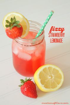 This Fizzy Strawberry Lemonade is to die for!  So easy to make and is only two ingredients!  via createcraftlove.com
