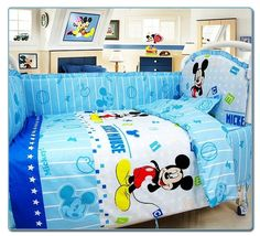 bumper+duvet+bed Cover+bed Skirt Pretty And Colorful 7pcs Baby Cot Set Crib Bumper Design Baby Bedding Set For Boys Reactive Printing Brilliant Promotion