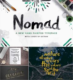 Description: Introducing Nomad -hand painted typeface with splatters and vectors. Perfect for printing, posters, ads etc. Free for download. File format: .otf, .ai, .psd, eps, .ttf, .woff for Photoshop or other software. File size: 7 Mb.