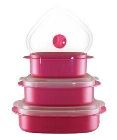Magenta Three-Piece Cookware & Storage Set by Reston Lloyd #zulily #zulilyfinds