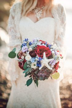 beach wedding bouquet - photo by London Light Photography http://ruffledblog.com/bohemian-seaside-daydream-editorial