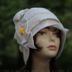 Designer Hat Cloche hat 1920s white Felted Hat Cloche Flapper