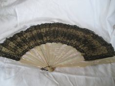 ANTIQUE Black Lace Iridescent Shell Stick Hand Fan by abandc