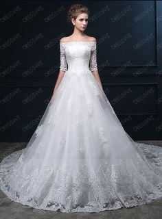 Buy Modern Off-The-Shoulder Half Sleeves Lace Chapel Train Wedding Dress  Online, Dresswe.Com offer high quality fashion,Price: USD$217.59
