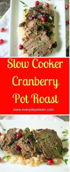 Slow Cooker Cranberry Pot Roast Slow Cooker Cranberry Pot Roast -gluten-free, low-carb and an easy meal to prepare. #slowcooker #potroast