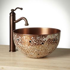 Buy the Signature Hardware 244091 Mosiac Copper Direct. Shop for the Signature Hardware 244091 Mosiac Copper Valencia Mosaic Copper Vessel Sink and save. Copper Vessel Sinks, Copper Faucet, Copper Bathroom, Vessel Sink Bathroom, Boho Bathroom, Bathroom Styling, Sink Faucets, Bathroom Vanities, Bathroom Interior
