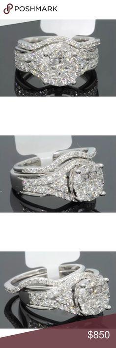 1.5 carat 10k white gold diamond ring set 1.5 carat 10k white gold diamond ring set. Comes with certification of authenticity. Retail $2800 Jewelry Rings