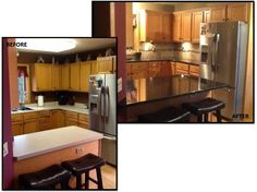 This just goes to show what an impact a new countertop and backsplash can have - especially when paired with a undercabinet lighting to feature them!  The granite allows light to reflect around this kitchen in ways that really change the feel.  Adding crown molding to existing cabinets is a simple, non-invasive way to give your cabinets an upgrade. Design by Kelsey Nonn of Nonn's Design Showplace.