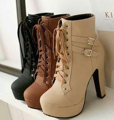 MA PU Leather Women Thick High Heel Short Boots (Black, Beige & Brown) Choose On… MA PU Leather Women Botas curtas de salto alto grosso (preto, bege e marrom) Escolha um tamanho acima – Afreeman Leather High Heel Boots, Lace Up Ankle Boots, Pu Leather, Brown High Heel Boots, Thick Heel Boots, Black Leather, Ankle Booties, Pretty Shoes, Cute Shoes