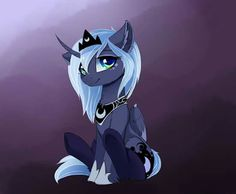 Either her mane is ultra shiny or really light blue