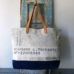 1951 USAF White canvas duffle bag remake tote bag IND_BNP_0098_USAF W50cm H34cm D14cm Handle51cm