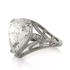 5.38ct Pear Shaped Diamond Engagement Ring #3317