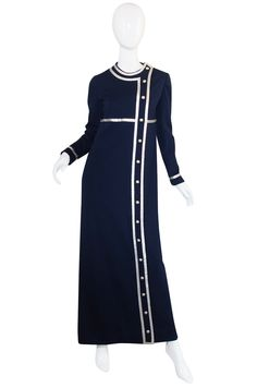 1960s Geoffrey Beene Blue & Silver Maxi Dress