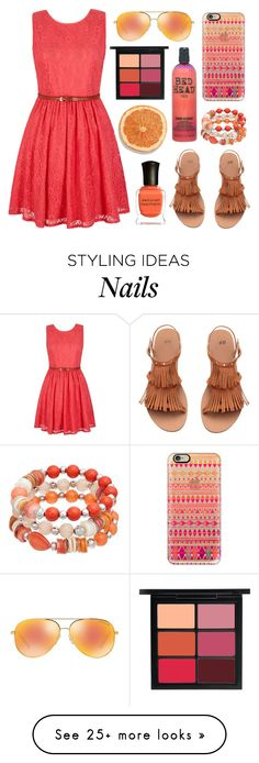 """coral pink & orange ;)"" by mo-de-17 on Polyvore featuring MAC Cosmetics, Deborah Lippmann, Casetify, TIGI, Michael Kors and Yumi"