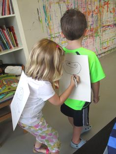 Back-to-back portrait drawing game - 10 min - partner kids up, attach a piece of paper to the back of their shirts, draw a quick portrait of their partner