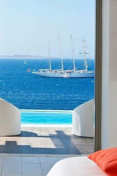 this window view only in Mykonos,Greece