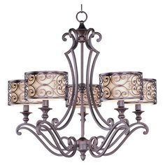 5-light iron chandelier in umber bronze with a scrollwork motif and fabric shades.   Product: ChandelierConstructio...