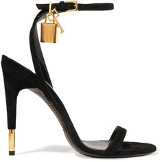 5e4b6c16041ac TOM FORD Suede sandals ($1,110) ❤ liked on Polyvore featuring shoes, sandals,  heels, black, tom ford, strap heel sandals, high heeled footwear, ...
