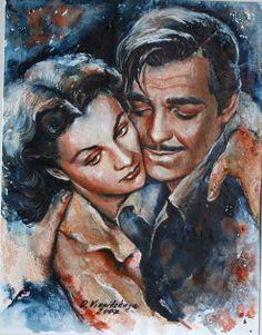 Olga Vinnitskaya. Hollywood. Aquarell mit Spachtelmasse + Airbrush Farbe auf Papier.