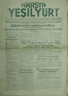 Amasya Yeşilyurt Gazetesi 1948