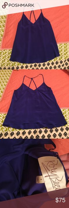 Silk tank Rory beds silk tank in bright blue, 100% silk Rory Beca Tops
