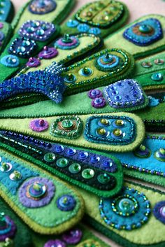 Embroidered felt with beads and sequins! 'The Peacock' close-up