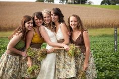 Earth tone handmade patterned bridesmaid's dresses for a rustic cornfield wedding (+ a sweet photo!) | CHECK OUT MORE IDEAS AT WEDDINGPINS.NET | #weddings #bridesmaids #bridal #dresses #fashion #forweddings